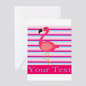 Personalizable Pink Flamingo Stripes Greeting Card