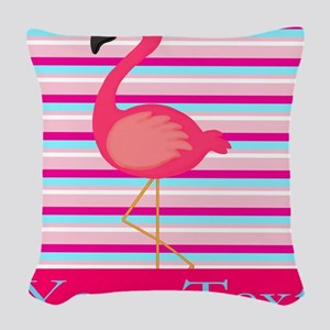 Personalizable Pink Flamingo Stripes Woven Throw P
