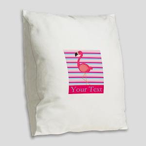 Personalizable Pink Flamingo Stripes Burlap Throw