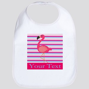 Personalizable Pink Flamingo Stripes Bib