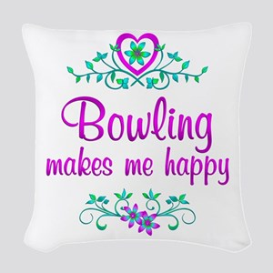 Bowling Happy Woven Throw Pillow