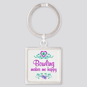 Bowling Happy Square Keychain