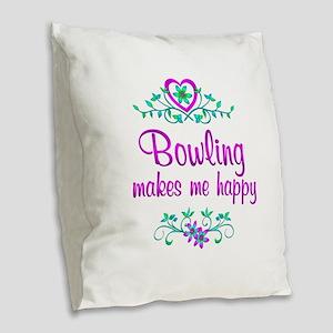 Bowling Happy Burlap Throw Pillow