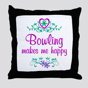 Bowling Happy Throw Pillow
