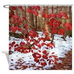 Red Leaves Snow Winter Christmas Shower Curtain