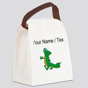 Custom Cartoon Alligator Canvas Lunch Bag