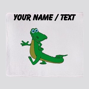 Custom Cartoon Alligator Throw Blanket