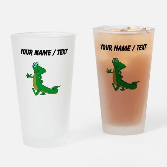 Custom Cartoon Alligator Drinking Glass