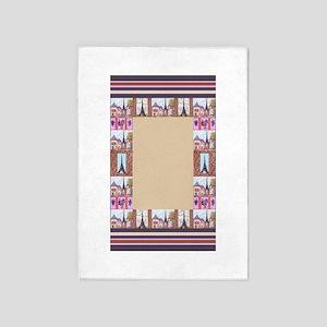 Paris Eiffel Tower inspired art frame border rug 5