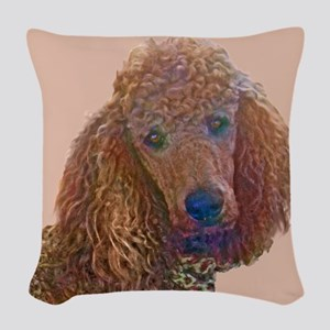 RED POODLE LOVE Woven Throw Pillow