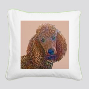 RED POODLE LOVE Square Canvas Pillow