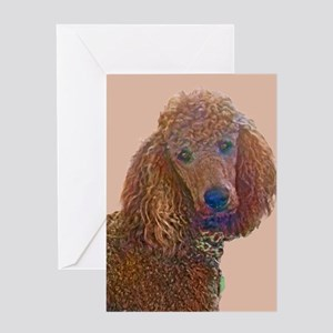 RED POODLE LOVE Greeting Cards