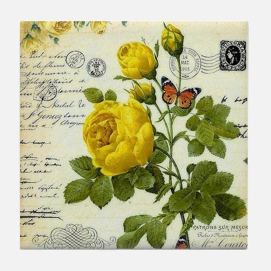 Cute Yellow rose Tile Coaster