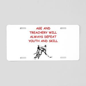 i love hockey Aluminum License Plate