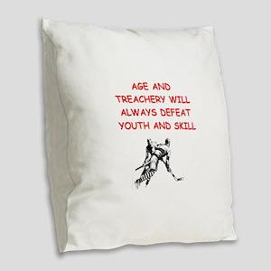 i love hockey Burlap Throw Pillow