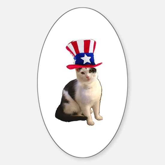 Uncle Sam Cat Oval Decal