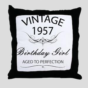 Vintage 1957 Birthday Girl Aged To Pe Throw Pillow
