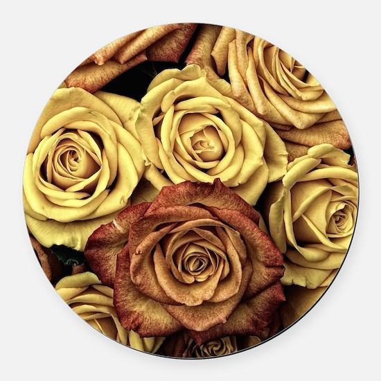 Vintage Roses Round Car Magnet