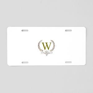 Gold Monogram with Laurels Aluminum License Plate
