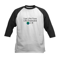 Live Like Your Life Depended Kids Baseball Jersey