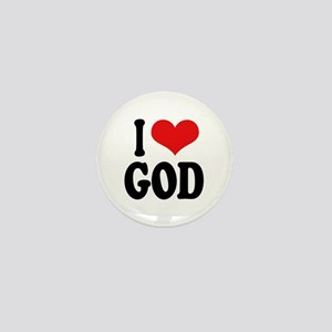 I Love God Mini Button
