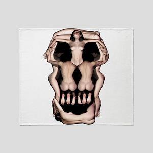 Women Skull Illusion Throw Blanket