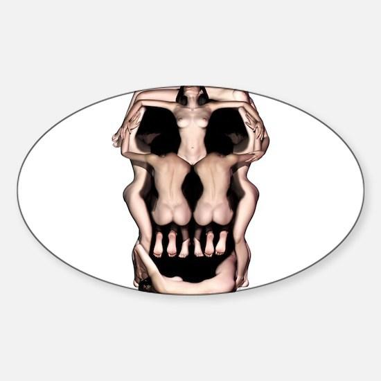 Women Skull Illusion Sticker (Oval)
