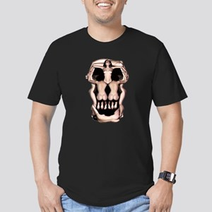 Women Skull Illusion Men's Fitted T-Shirt (dark)
