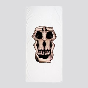 Women Skull Illusion Beach Towel