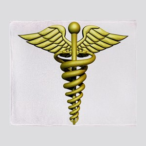 Golden Medical Symbol Throw Blanket