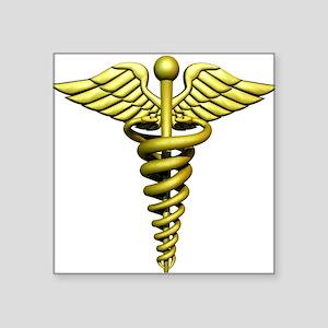 "Golden Medical Symbol Square Sticker 3"" x 3"""