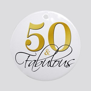 50 and Fabulous Gold Black Ornament (Round)