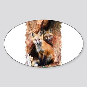 Fox cubs in Hollow Forest Tree Sticker