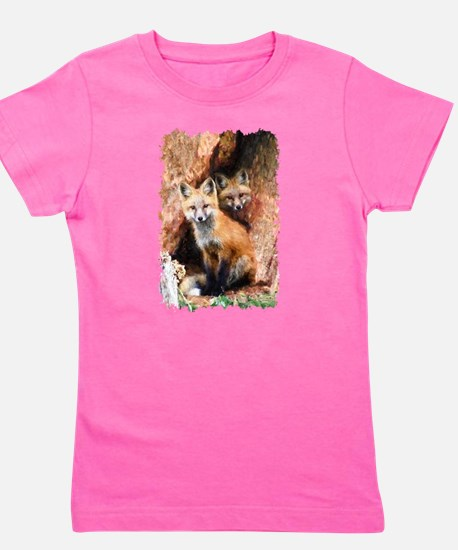 Fox cubs in Hollow Forest Tree Girl's Tee