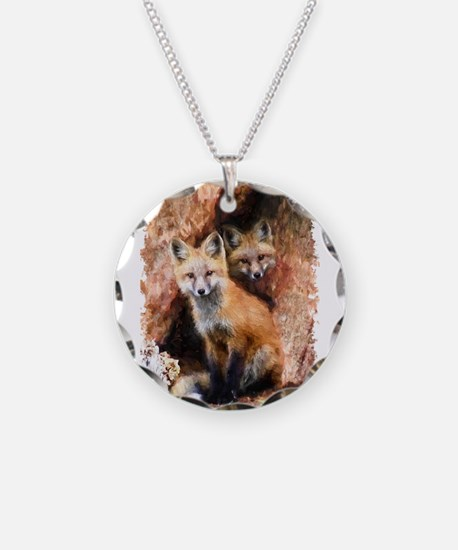 Fox cubs in Hollow Forest Tr Necklace
