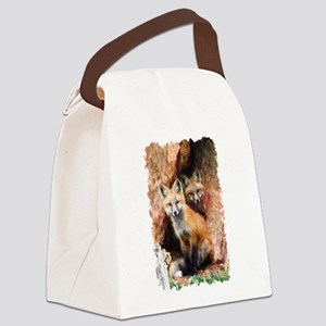 Fox cubs in Hollow Forest Tree Canvas Lunch Bag