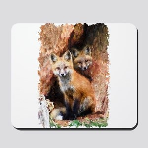 Fox cubs in Hollow Forest Tree Mousepad