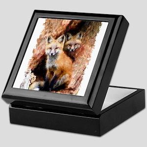 Fox cubs in Hollow Forest Tree Keepsake Box