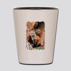 Fox cubs in Hollow Forest Tree Shot Glass