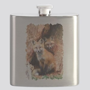 Fox cubs in Hollow Forest Tree Flask