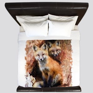 Fox cubs in Hollow Forest Tree King Duvet