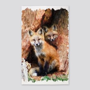 Fox cubs in Hollow Forest Tree Area Rug