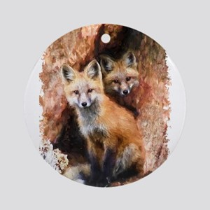 Fox cubs in Hollow Forest Tree Ornament (Round)