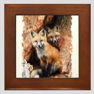 Fox cubs in Hollow Forest Tree Framed Tile