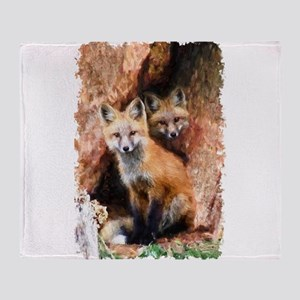 Fox cubs in Hollow Forest Tree Throw Blanket