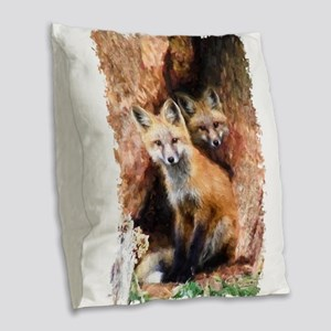 Fox cubs in Hollow Forest Tree Burlap Throw Pillow