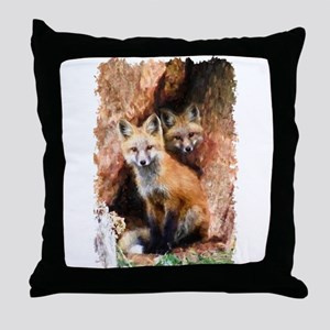 Fox cubs in Hollow Forest Tree Throw Pillow