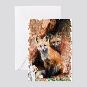 Fox cubs in Hollow Forest Tree Greeting Cards