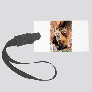 Fox cubs in Hollow Forest Tree Large Luggage Tag