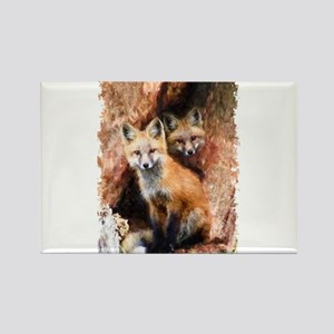 Fox cubs in Hollow Forest Tree Magnets